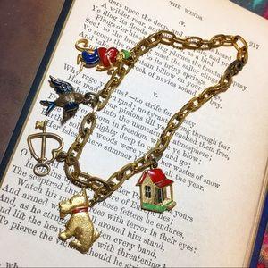 Vintage 1940s enamel charm bracelet